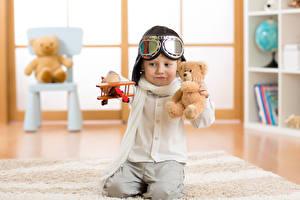 Fotos Teddy Flugzeuge Jungen Helm Brille Kinder