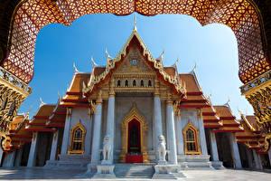 Bureaubladachtergronden Thailand Bangkok Tempel Beeldhouwkunst Ontwerp een stad