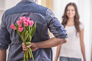 Fotos Tulpen Sträuße Mann Rücken Hand Blumen Mädchens
