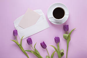 Images Tulips Coffee Colored background Template greeting card Sheet of paper Cup Flowers