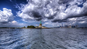 Images USA Building New York City Clouds Statue of Liberty HDRI Cities