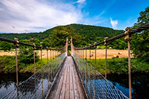 Wallpapers United Kingdom Bridges Fields Hill Wales Conwy valley Nature