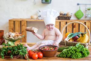 Fotos Gemüse Brot Obst Tomate Baby Küchenchef Mütze Kinder