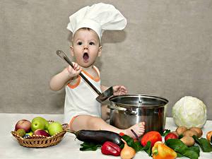 Hintergrundbilder Gemüse Obst Jungen Küchenchef Mütze Kinder