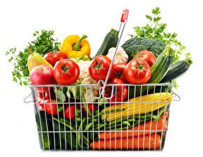 Papel de Parede Desktop Hortaliça Frutas Milho Tomates Cenoura Branco Cesta de vime comida