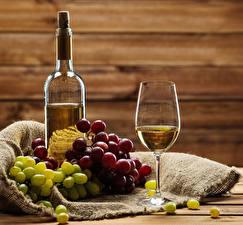 Pictures Wine Grapes Bottle Stemware