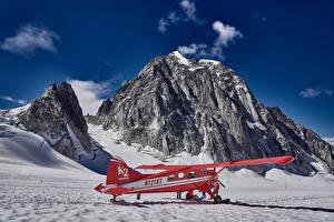 Bilder Alaska Winter Flugzeuge Felsen Luftfahrt