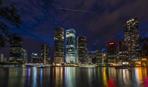 Hintergrundbilder Australien Brisbane Haus Flusse Seebrücke Nacht