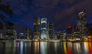 Pictures Australia Brisbane Houses River Pier Night time Cities