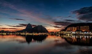 Picture Brazil Building Berth Rio de Janeiro Bay Night time Cities
