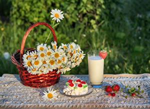 Bilder Kamillen Milch Erdbeeren Törtchen Stillleben Weidenkorb Trinkglas Lebensmittel Blumen