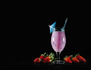 Wallpaper Cocktail Strawberry Black background Stemware Parasol Food