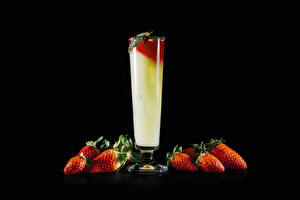 Image Cocktail Strawberry Black background Stemware Food