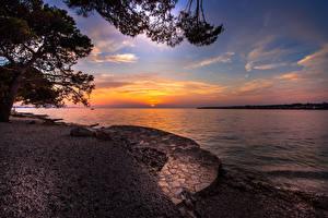 Wallpapers Croatia Coast Sunrise and sunset Bay Nature