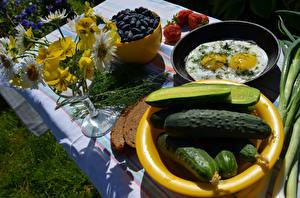 Fotos Gurke Sträuße Ackerveilchen Frühstück Spiegelei