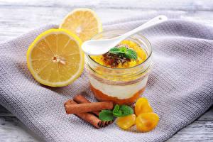 Fotos Dessert Zimt Zitrone Trinkglas Lebensmittel