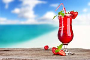 Fotos Getränke Fruchtsaft Erdbeeren Cocktail Weinglas Lebensmittel