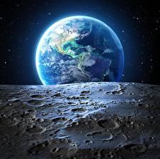 Bakgrundsbilder på skrivbordet Jorden Månen
