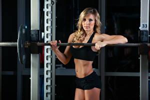 Hintergrundbilder Fitness Blondine Starren Mädchens Sport