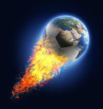 Bilder Fußball Feuer Ball Globus Erde sportliches