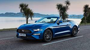 Pictures Ford Blue Cabriolet Mustang 2018 Ecoboost Convertible automobile