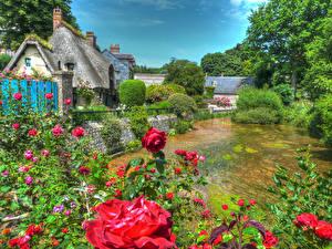 Bakgrunnsbilder Frankrike Hus Elver Elv Roser HDR Busker Veules-les-Roses Normandy byen