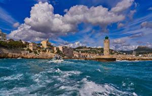 Bilder Frankreich Gebäude Meer Leuchtturm Küste Cassis Village Coast Städte