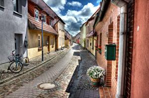 Photo Germany Houses Matricaria HDRI Street Bicycle Street lights Barth Cities
