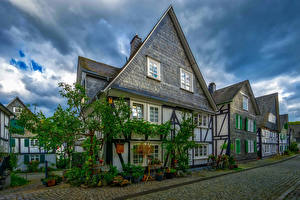 Pictures Germany Houses Street Bicycle Freudenberg Cities