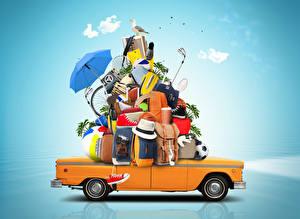 Sfondi desktop Gabbiani Valigia Cappello Ombrella Macchina fotografica Converse Pallone Turismo