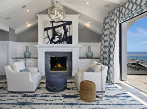 Photo Interior Design Living room Wing chair Fireplace