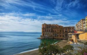 Pictures Italy Coast Villa Houses Bay Napoli Palazzo Donna-Anna