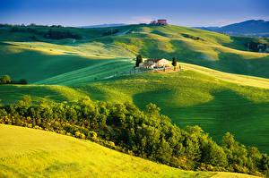Bilder Italien Toskana Landschaftsfotografie Felder Gebäude Hügel Natur