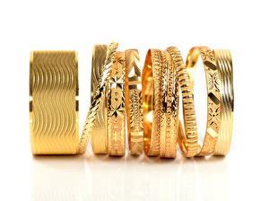 Photo Jewelry Gold Bracelet White background