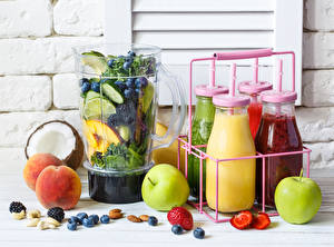 Wallpaper Fruit Apples Apricot Nuts Berry Smoothie Bottle Highball glass Food