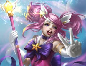 Bilder LOL Finger Magierstab Star Guardian Lux Spiele Fantasy Mädchens