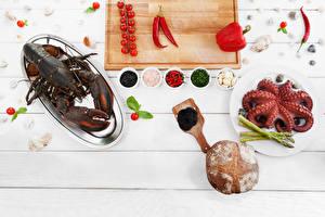 Hintergrundbilder Hummerartige Meeresfrüchte Gewürze Paprika Tomate Bretter Schneidebrett