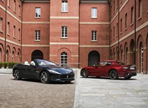 Wallpaper Maserati Two Metallic Convertible Cars