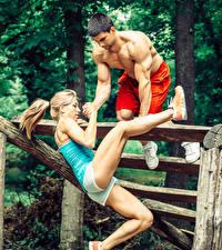 Hintergrundbilder Mann Fitness 2 Blond Mädchen Körperliche Aktivität Bein Mädchens Sport