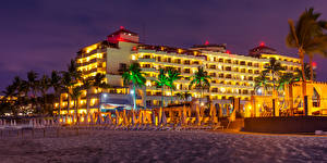 Image Mexico Houses Evening Sand Palms Beach Puerto Vallarta Cities