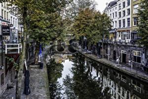 Desktop wallpapers Netherlands Utrecht Houses Canal Street Trees Cities