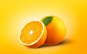 Image Orange fruit Closeup Colored background Drops Food