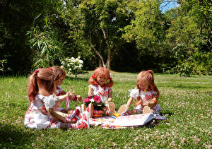 Wallpapers Parks Doll Little girls Sitting Grass Grugapark Essen Nature