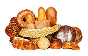 Fotos Backware Brot Brötchen Weißer hintergrund Lebensmittel
