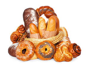 Bilder Backware Brötchen Brot Weißer hintergrund