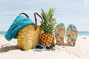 Image Pineapples Purse Flip-flops Glasses Beach Sand