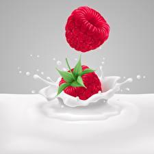 Hintergrundbilder Himbeeren Milch