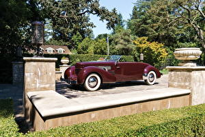 Pictures Retro Dark red Convertible 1937 Cord 812 Supercharged Convertible Coupe automobile