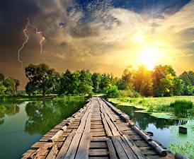 Hintergrundbilder Flusse Brücken Sonnenaufgänge und Sonnenuntergänge Himmel Blitz Natur