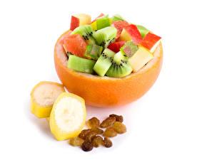 Images Salads Fruit Raisin Bananas White background